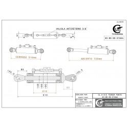 Cilindro tercer punto 40-80/90-210 rótula fija y válvula