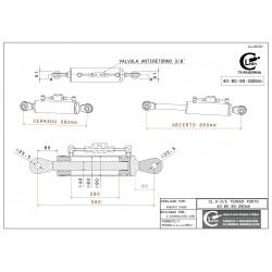 Cilindro tercer punto 40-80/90-280 rótula fija y válvula