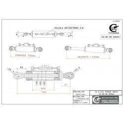Cilindro tercer punto 40-80/90-400 rótula fija y válvula